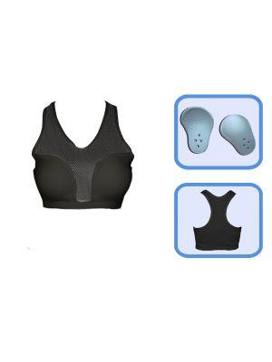 črn ženski ščitnik prsi z majico borilne