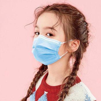 Set 10 troslojnih otroških kirurških obraznih mask modre barve1